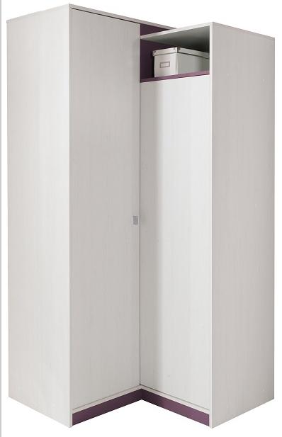 Rohová skriňa Stone ST2   Farba: biela / fialová