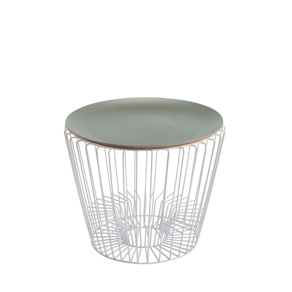 Odkladací stolík z lakovaného kovu so zelenou doskou HARTÔ Ernest, Ø50 cm