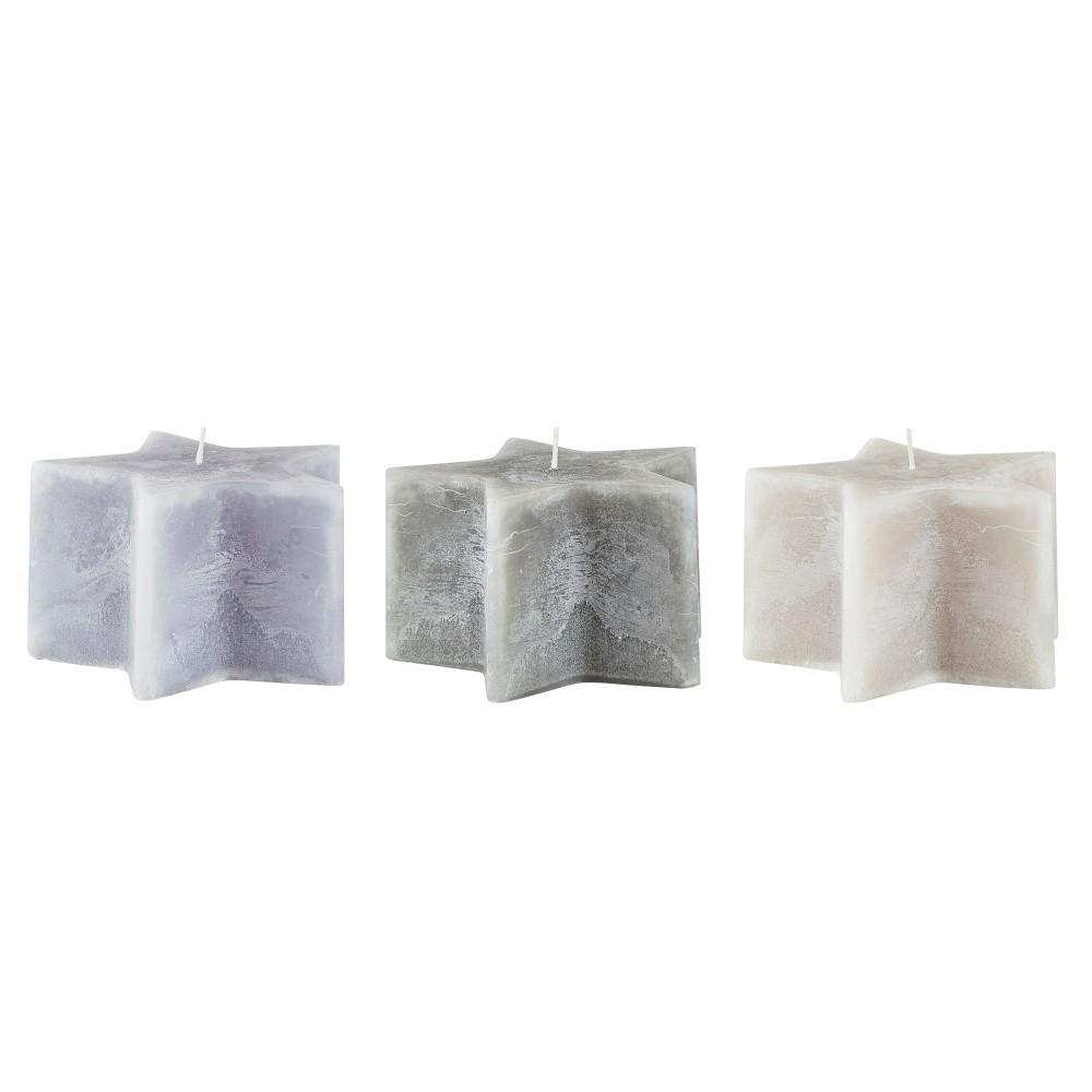 Sada 3 sivých sviečok KJ Collection Stars, ⌀ 14 x 8,5 cm