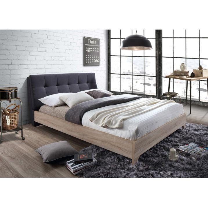 Manželská posteľ s roštom, 160x200, Látka-MDF, sivá-dub sonoma, LORAN