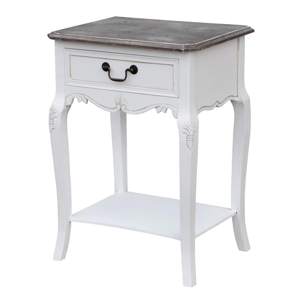 Biely nočný stolík z topoľového dreva s prírodnými detailmi Livin Hill Rimini