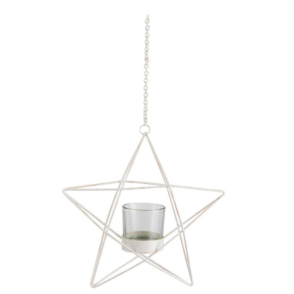 Biely závesný svietnik J-Line Glitter Star