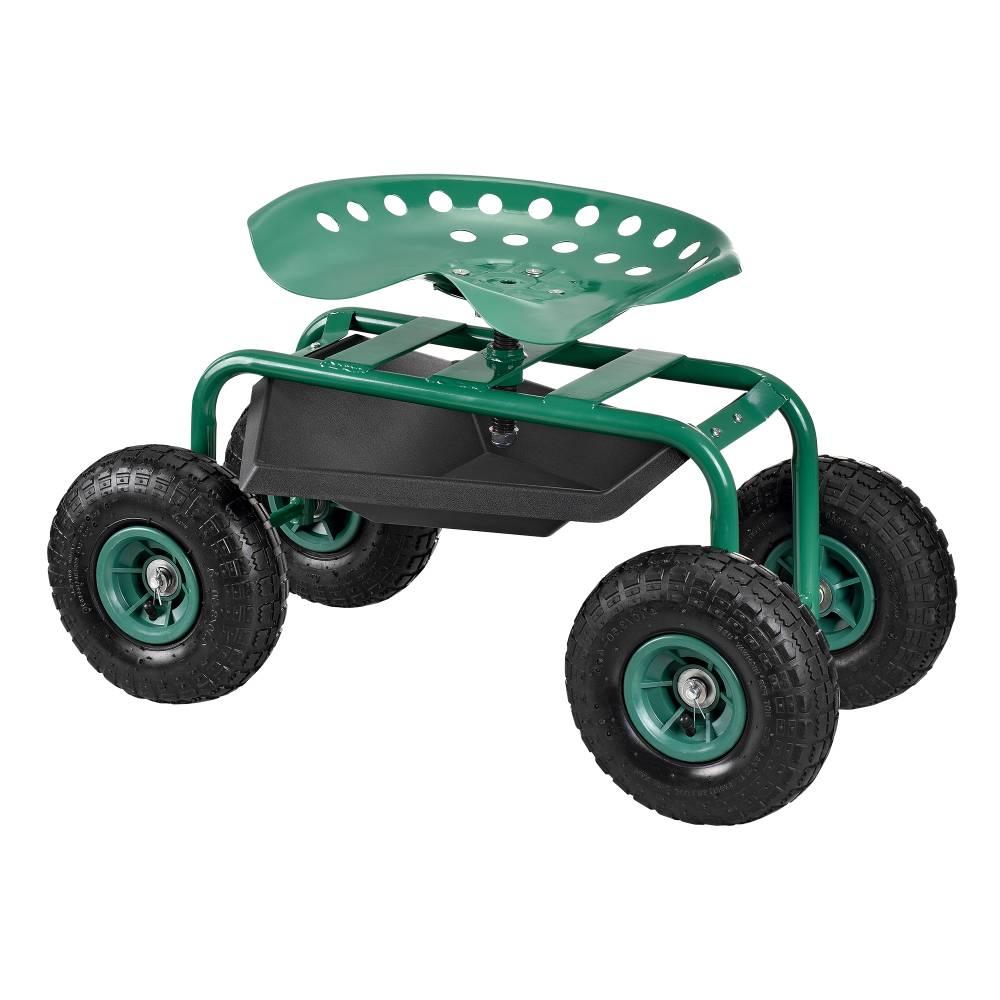 [pro.tec]® Záhradná stolička na kolieskach - 81 x 44,5 x 54 cm - zelená - 135 kg