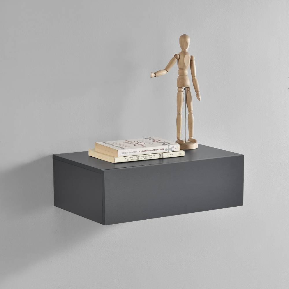 [en.casa]® Nočný stolík na stenu - 46 x 30 x 15 cm - sivý tmavý