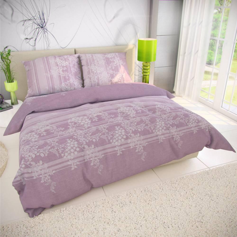 Kvalitex Bavlnené obliečky Bova fialová, 140 x 200 cm, 70 x 90 cm