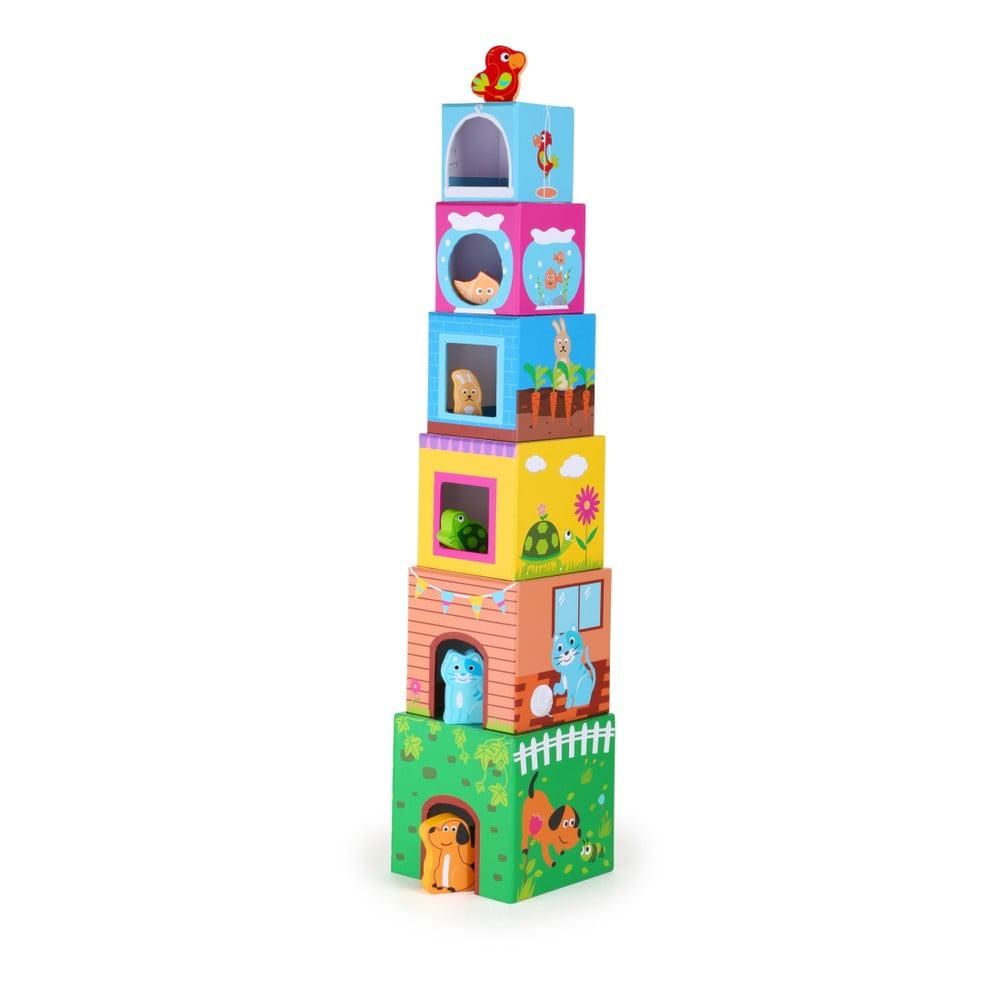 Veža z kociek s drevenými zvieratkami Legler Figures