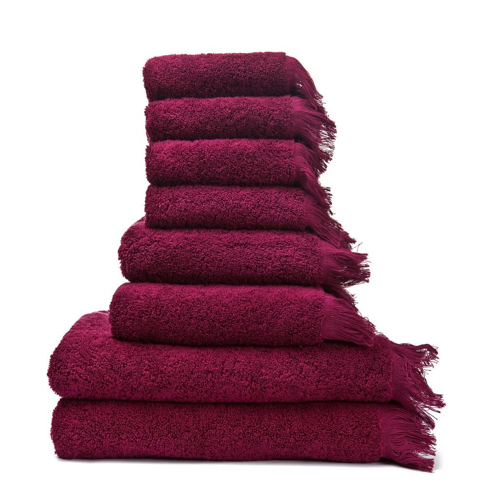 Set 8 vínových bavlnených uterákov a osušiek Casa Di Bassi Bath