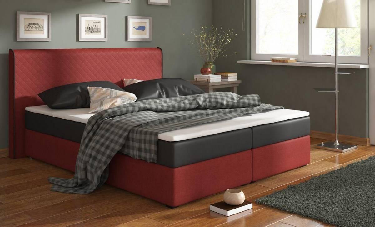 RENAR BERGAMO 180 posteľ - čierna ekokoža / červená látka (Inari 61)