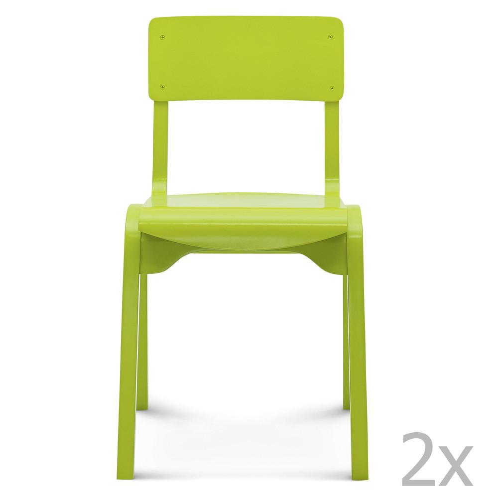 Sada 2 zelených drevených stoličiek Fameg Maren
