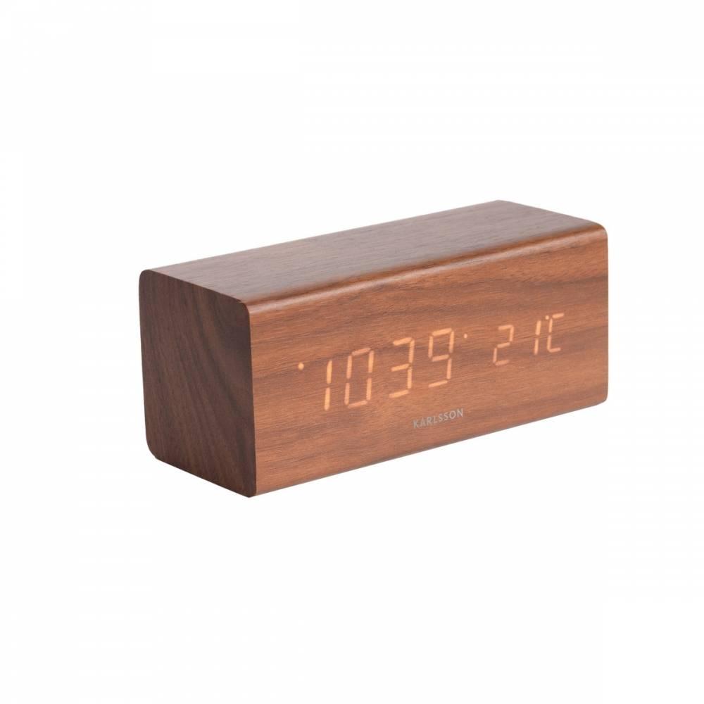 Karlsson 5652DW Dizajnové LED stolné hodiny s budíkom, 16 x 7 cm