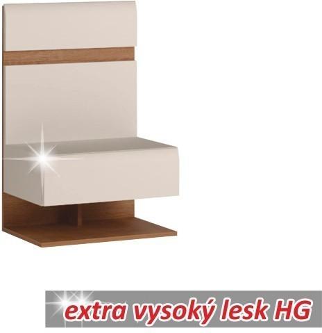 Nočný stolík, biela extra vysoký lesk HG/dub sonoma tmavý, LYNATET TYP 95
