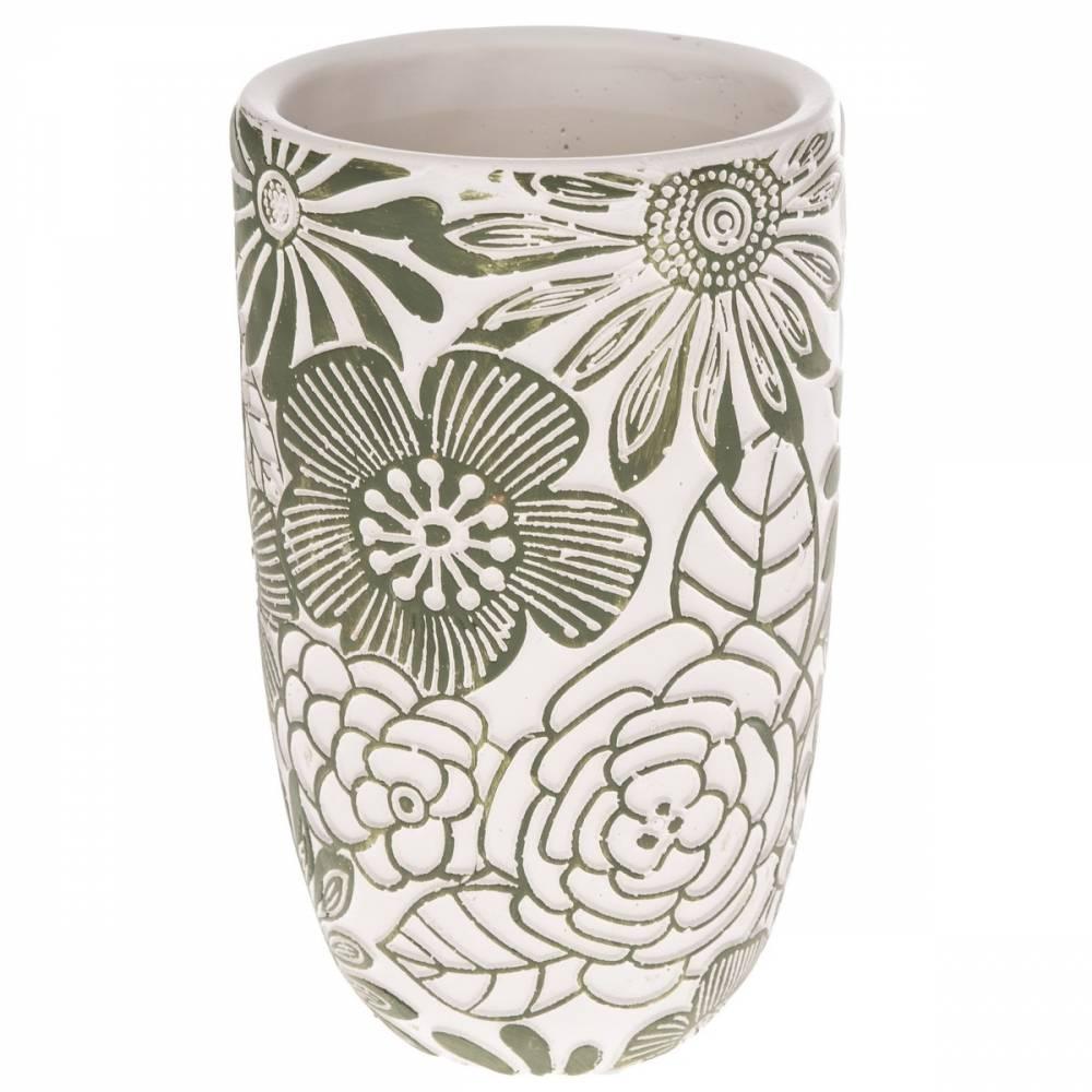 Betónová váza Flower, zelená,  12,5 x 21 x 12,5 cm