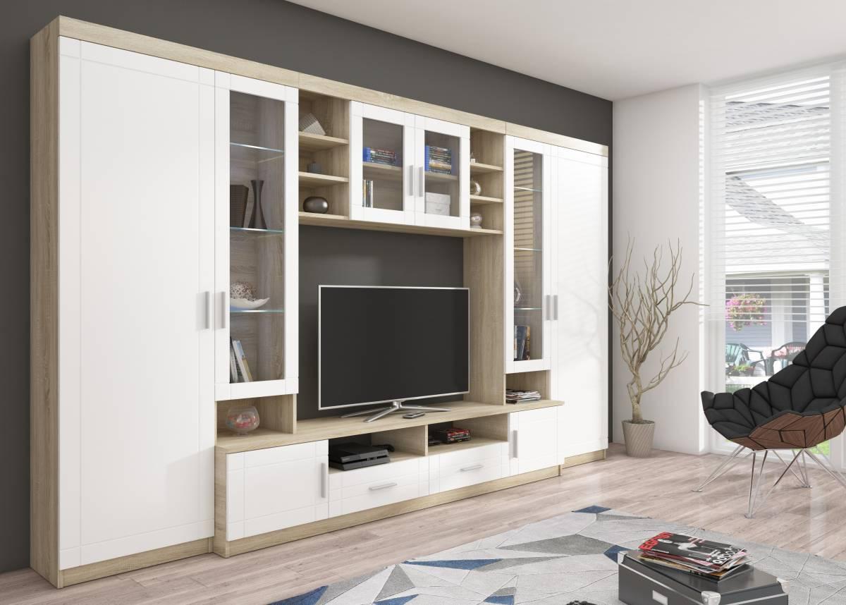 Veľká obývacia stena PARÍŽ, dub sonoma/biela
