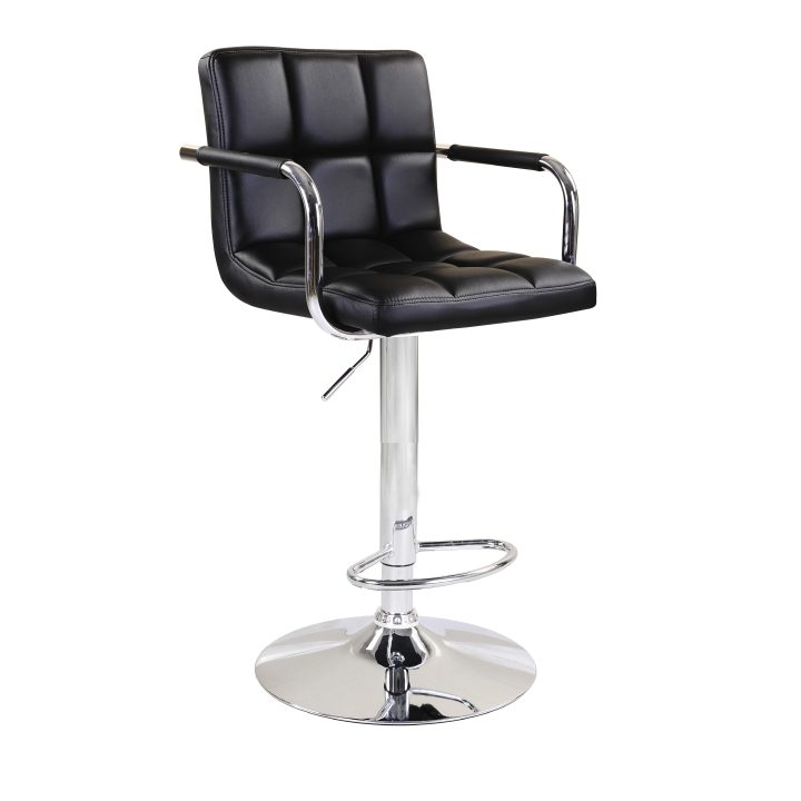 TEMPO KONDELA Barová stolička, čierna ekokoža/chróm, LEORA NEW