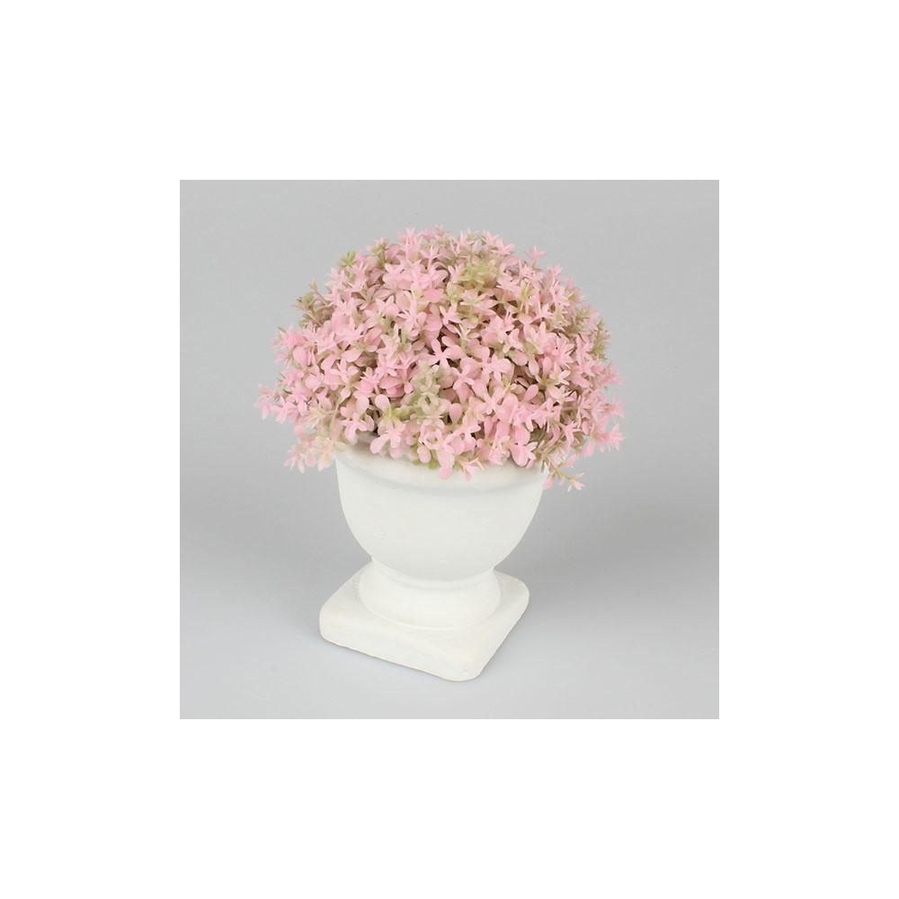 Ružová kvetinová dekorácia Dakls, výška15 cm