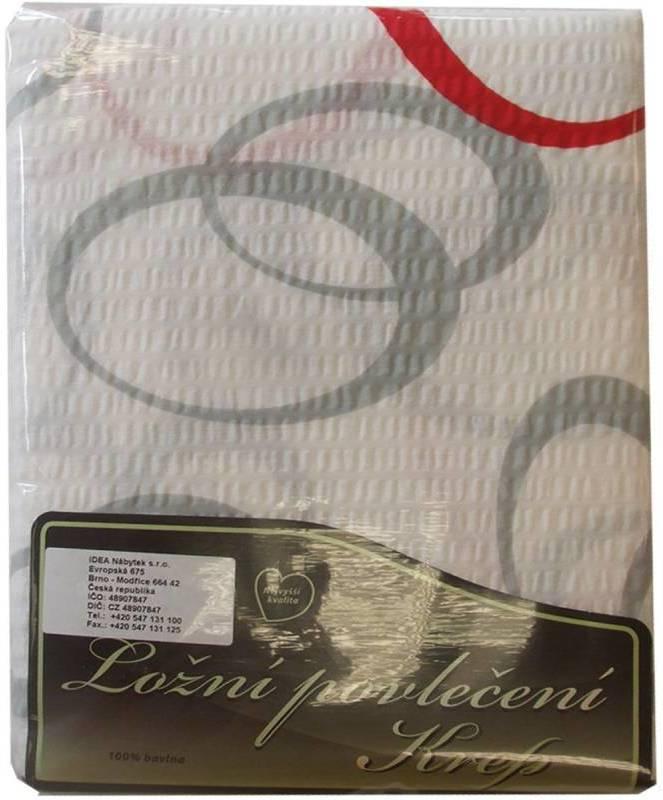 Posteľne pradlo šedo červené kruhy
