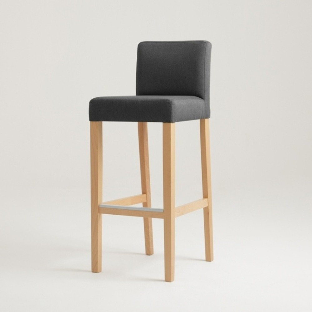 Antracitovosivá barová stolička s prírodnými nohami Custom Form Wilton