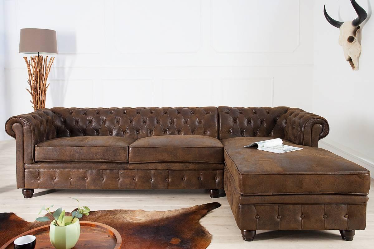 Bighome - Rohová sedačka CHESTERFIELD - hnedá