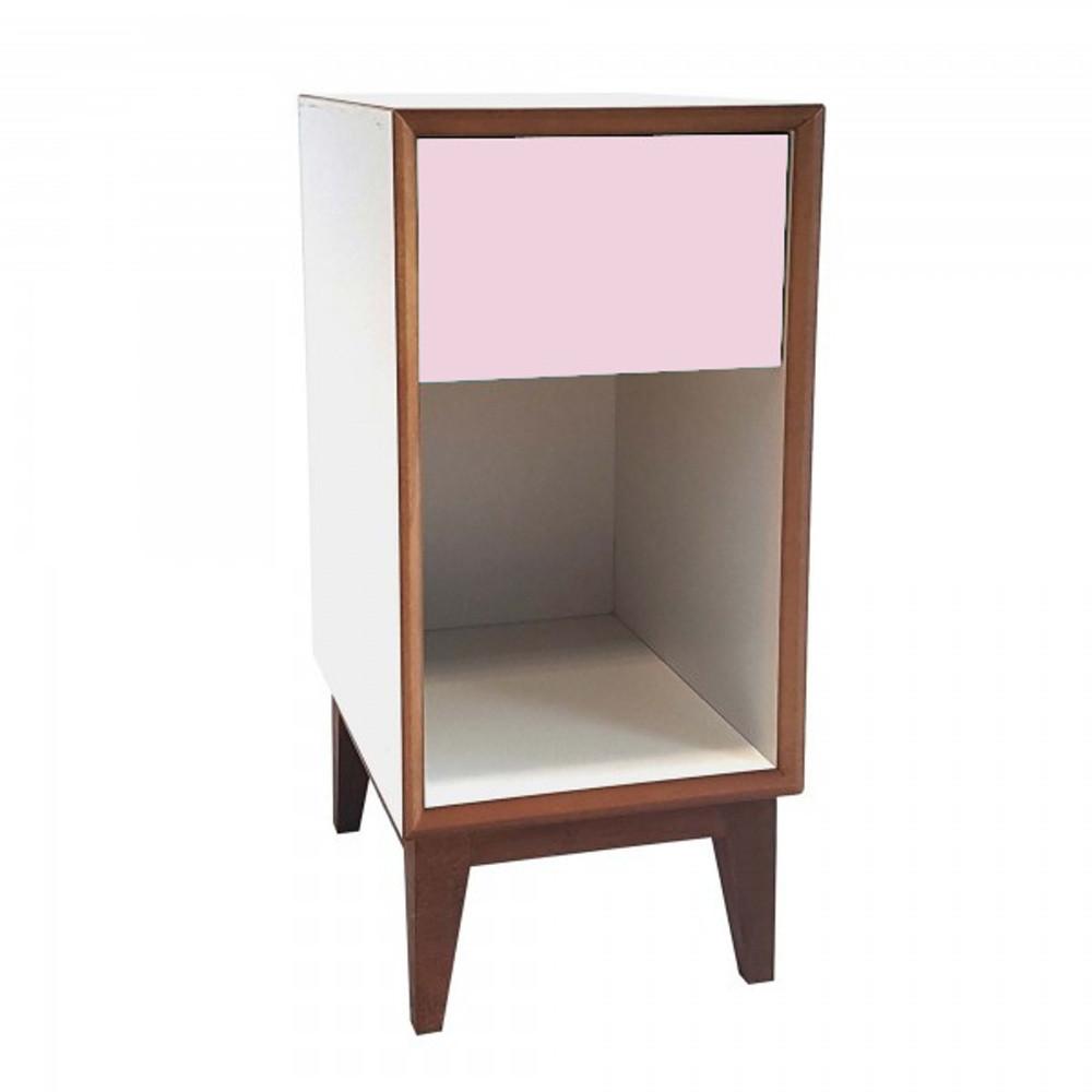 Malý nočný stolík s bielym rámoma ružovou zásuvkou Ragaba PIX