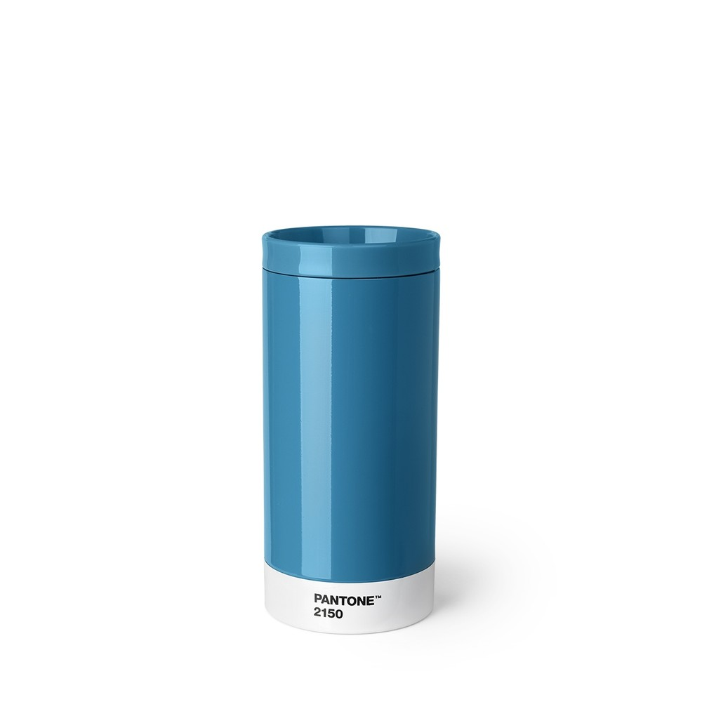 Modrý cestovný hrnček z antikoro ocele Pantone, 430 ml