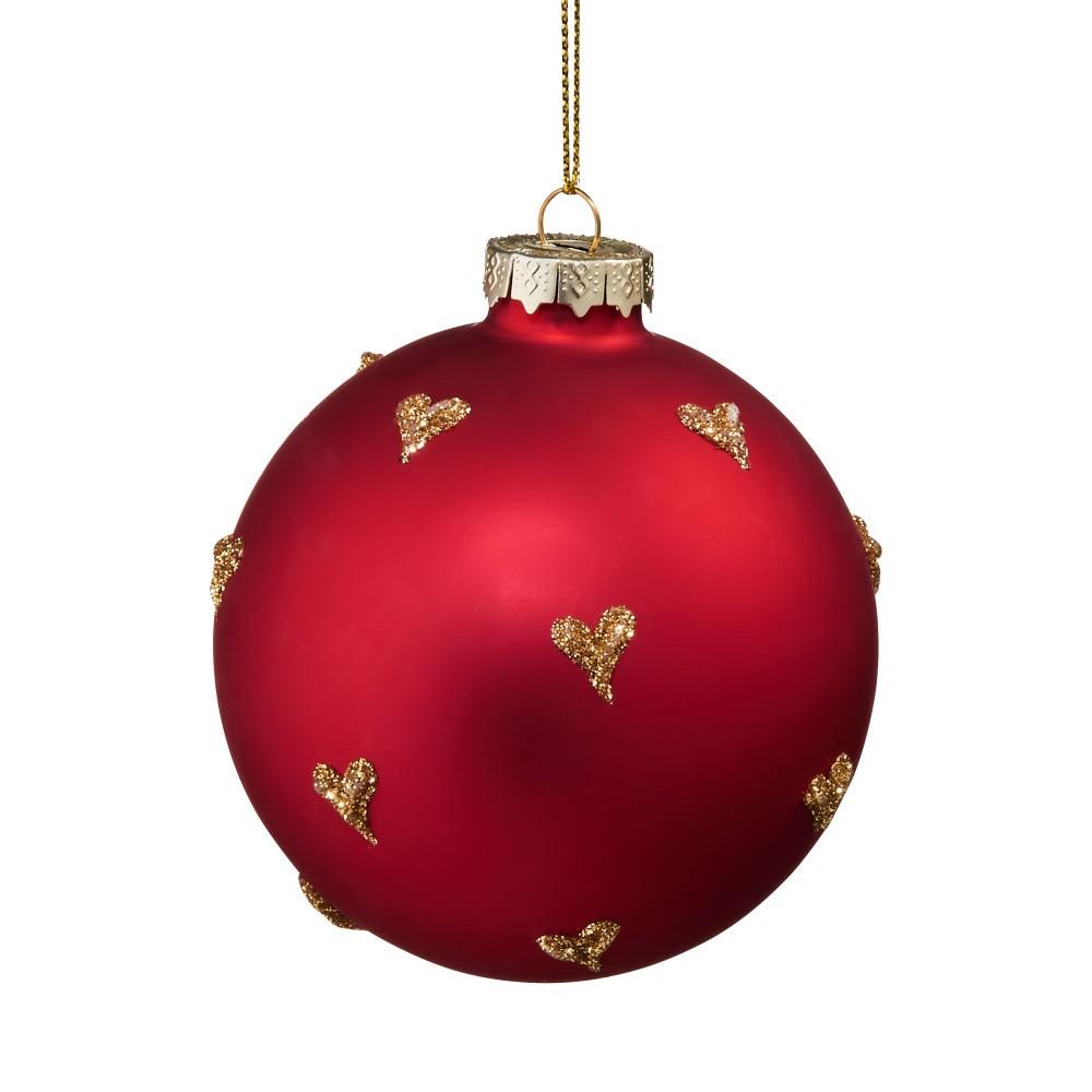 Červená vianočná závesná ozdoba so zlatými srdiečkami Butlers, ⌀ 8 cm