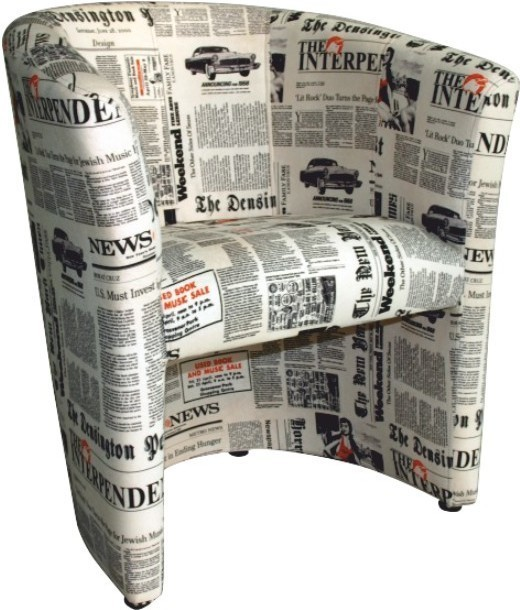 CUBA kreslo D-8 látka vzor noviny