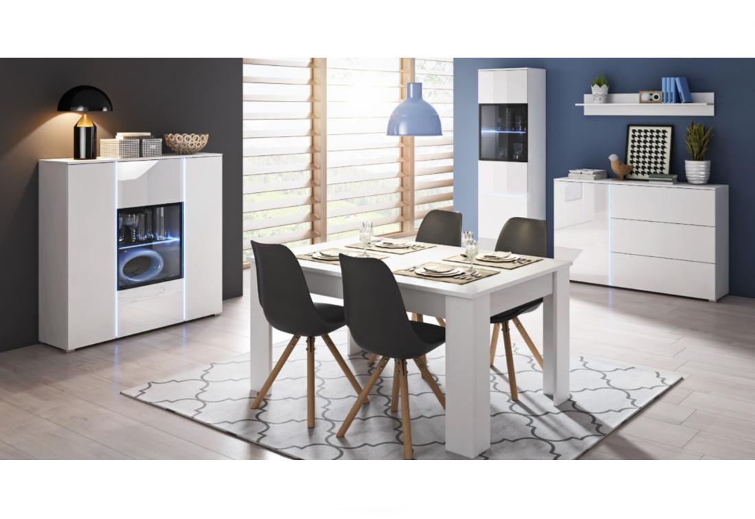 Obývací sestava MEMPHIS + LED, bílý/bílý lesk
