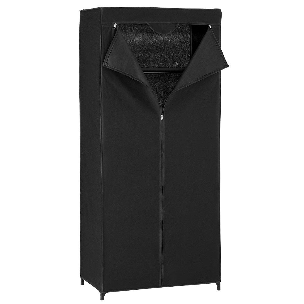 [neu.holz]® Textilný šatník - 160 x 70 cm - čierny