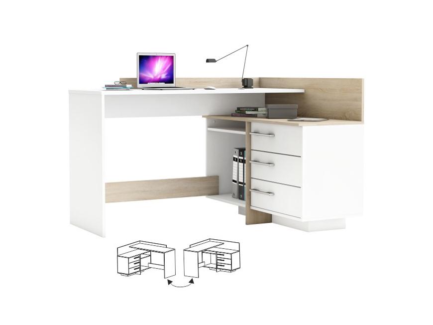 Rohový PC stolík Tale (biela + dub sonoma)