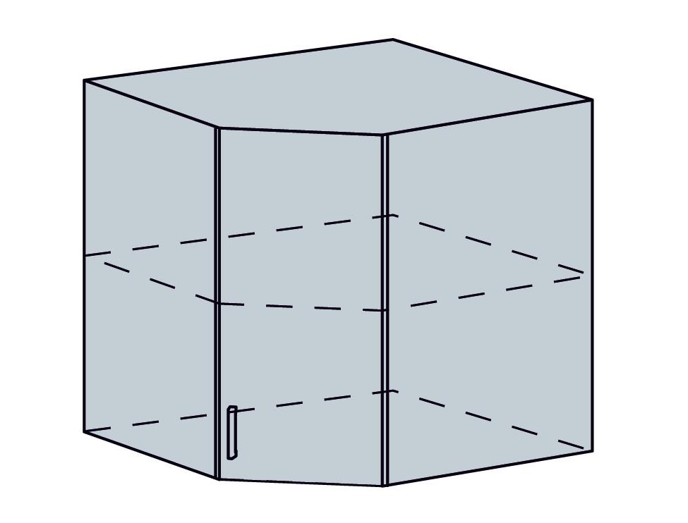 ARTEMIS/VALENCIA horný vnút. roh šikmý 60HR, biela/čierny metalic.