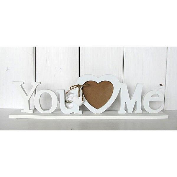 drevený fotorámik srdiečko you and me biely 45 x 11,5 x 5 cm