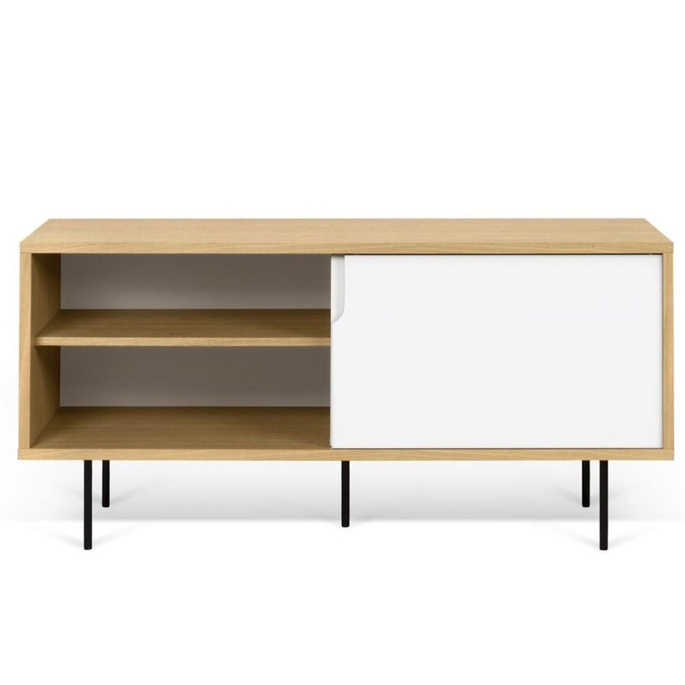 TV komoda v dekore dubového dreva s bielymi detailmi TemaHome Dann, dĺžka 135 cm
