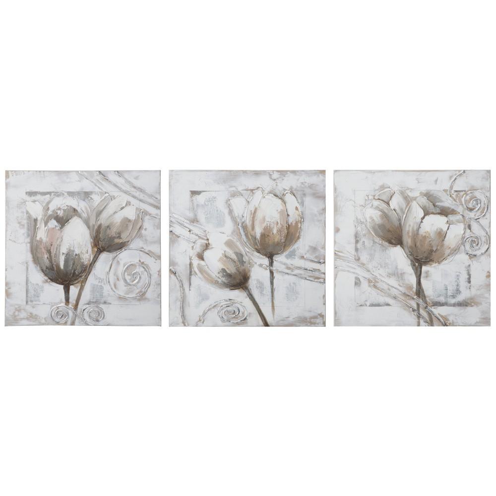 Viacdielny obraz s rámom z jedľového dreva Mauro Ferretti Tulips, 150 x 50 cm
