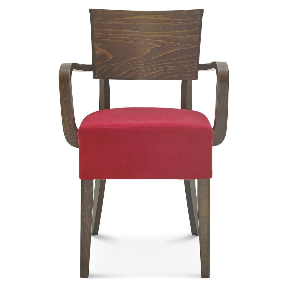 Drevená stolička s červeným čalúnením Fameg Else