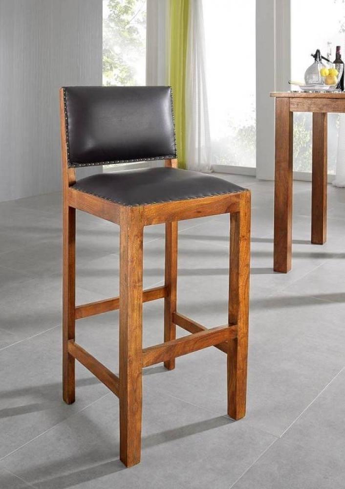 OXFORD HONIG barová stolička #0521 pravá koža, masívny agát, medová