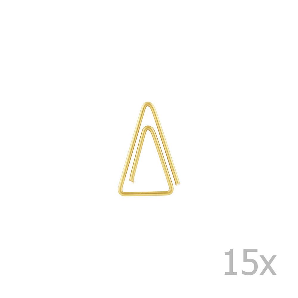 Sada 15 zlatých kancelárskych sponiek v tvare trojuholníka Monograph