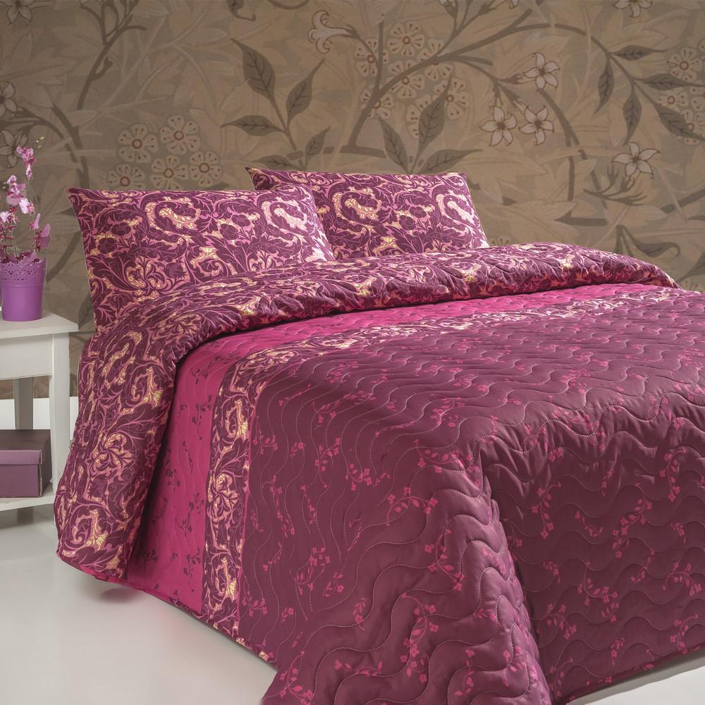 Sada prešívanej prikrývky na posteľ a dvoch vankúšov Gulistan Claret Red, 200x220cm
