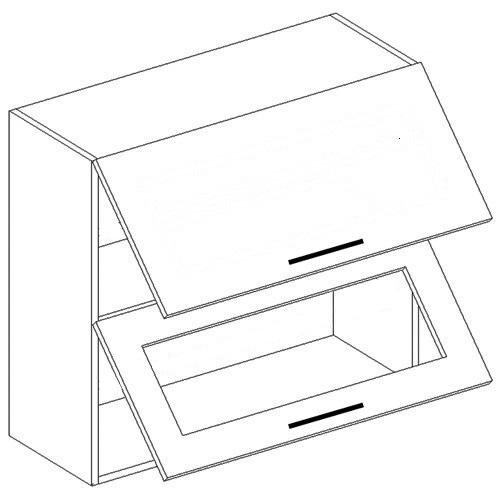 ANDY horná dvojvýklopná skrinka WO80-OK, sklo+plné dvierka