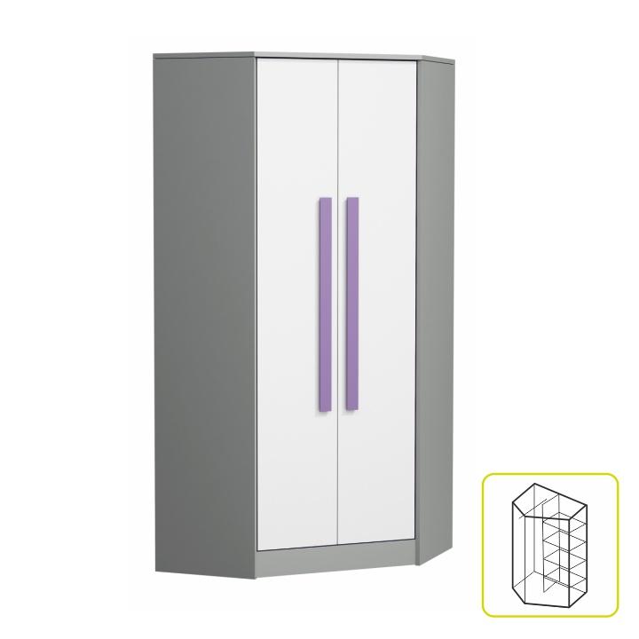 Vešiaková skriňa s policami - rohová, sivá/biela/fialová, PIERE P02