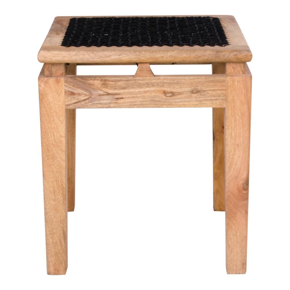 Stolička z mangového dreva s čiernym sedákom House Nordic Leh