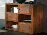 Furniture nábytok  Masívna komoda / príborník / polica s 3 policami a 3 skrinkami  z Palisanderu  Banafše  90x40x120 cm