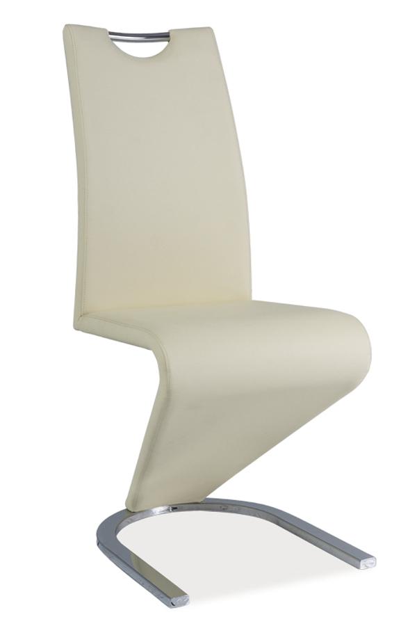 Jedálenská stolička HK-090, krémová/chróm
