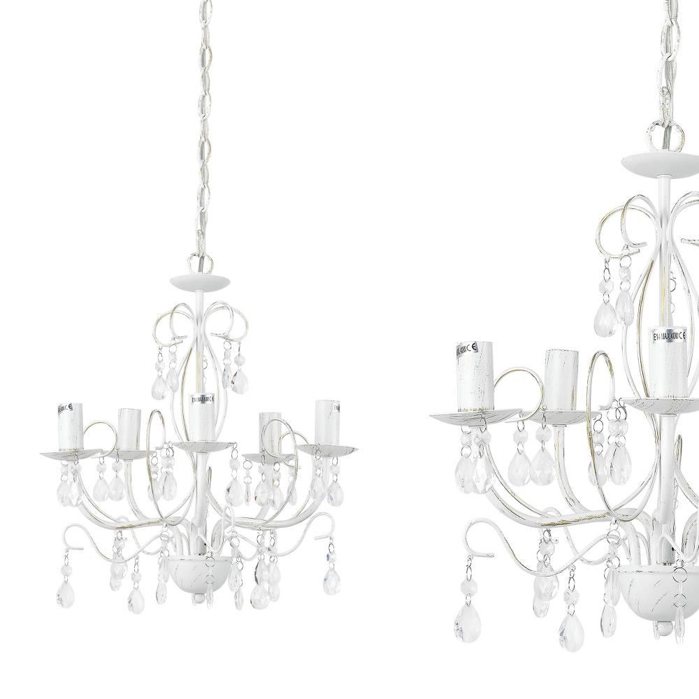 [lux.pro]® Elegantný luster – päťramenná stropná lampa – 5 x E14 - biely antik