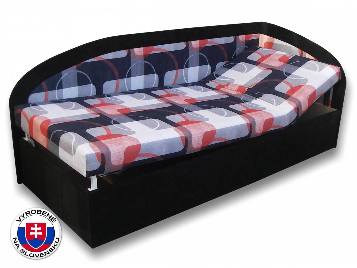 Jednolôžková posteľ (váľanda) 90 cm Kamila (Čierna 39 + Mimi 21) (P)