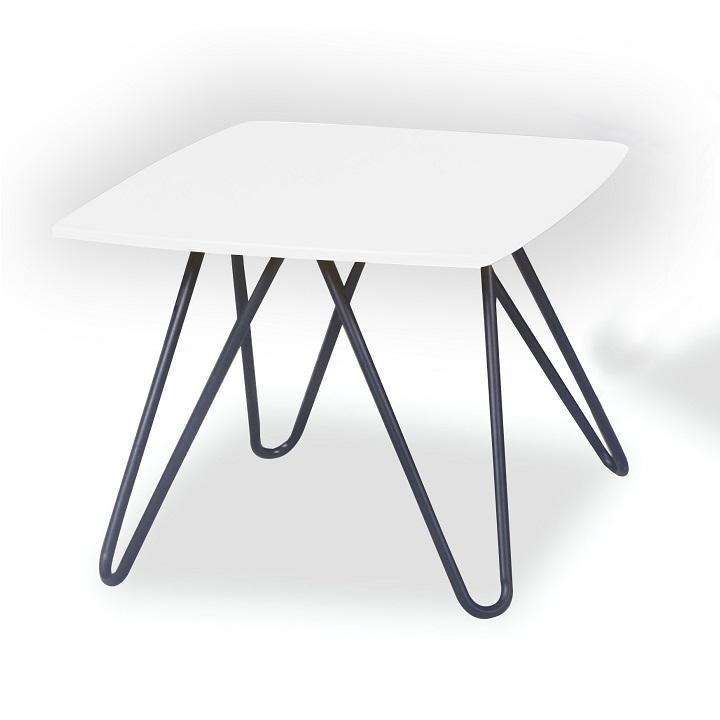 TEMPO KONDELA Konferenčný stolík, biela vysoký lesk/čierna, KANER 1