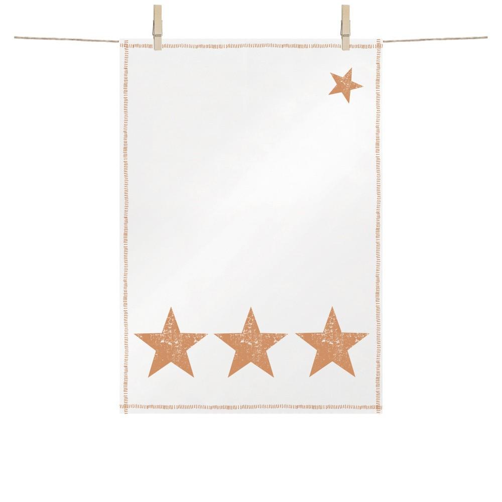 Bavlnená kuchynská utierka s vianočnými motívmi v medenej farbe PPD Star Fashion Copper, 48 × 68 cm