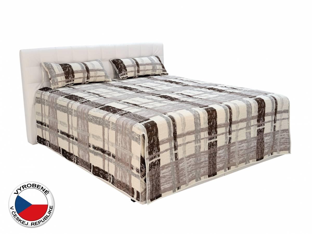 Manželská posteľ 180 cm Blanár Monaco (biela) (s roštami, matracmi, prehozom a vankúšmi)