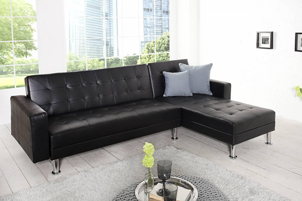 Rozkladacia rohová sedačka CHEISA - čierna