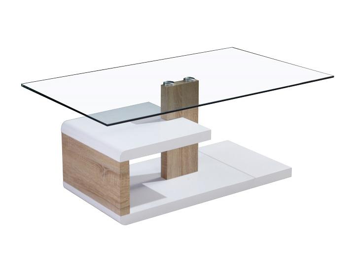 Konferenčný stolík Lars (biela + dub sonoma)