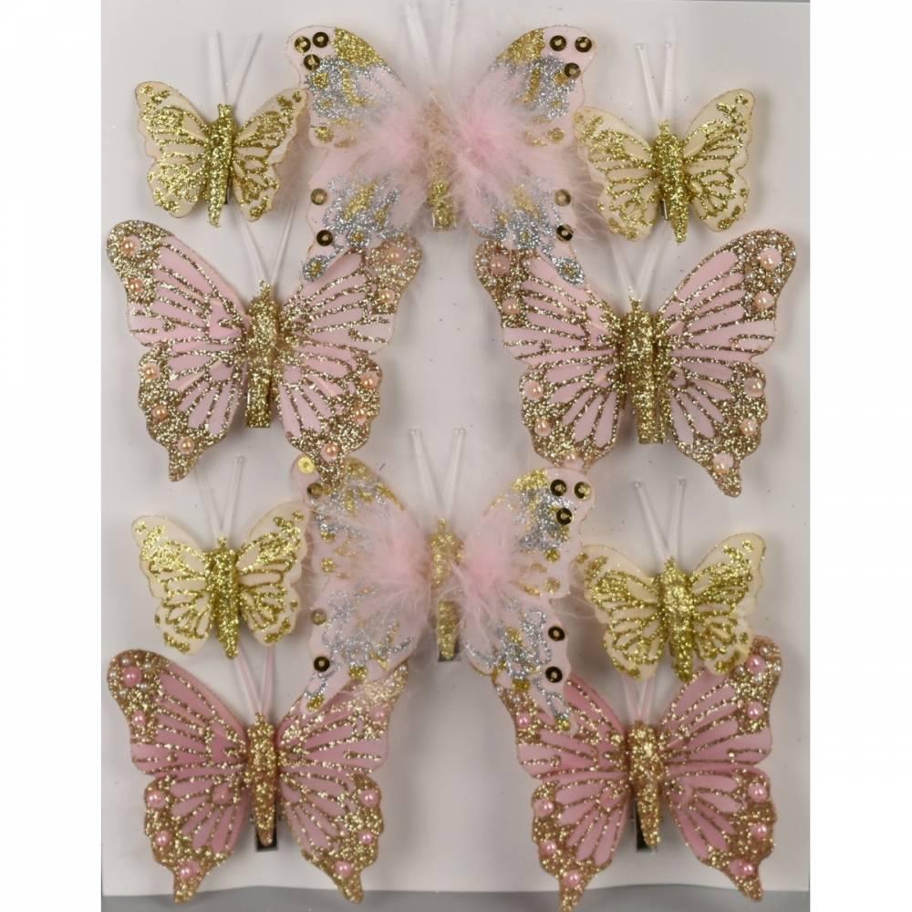 Sada vianočných ozdôb Motýliky ružová, 10 ks
